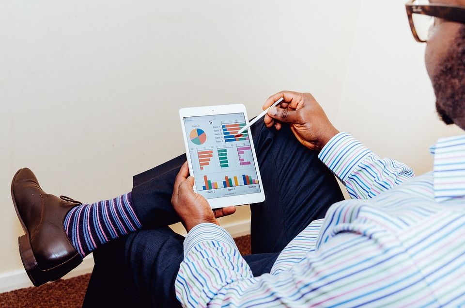 Person, Man, Male, Business, Tablet, Computer, Charts