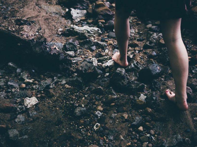 Barefoot, Rocks, Careful, Feet, Legs, Young, Female