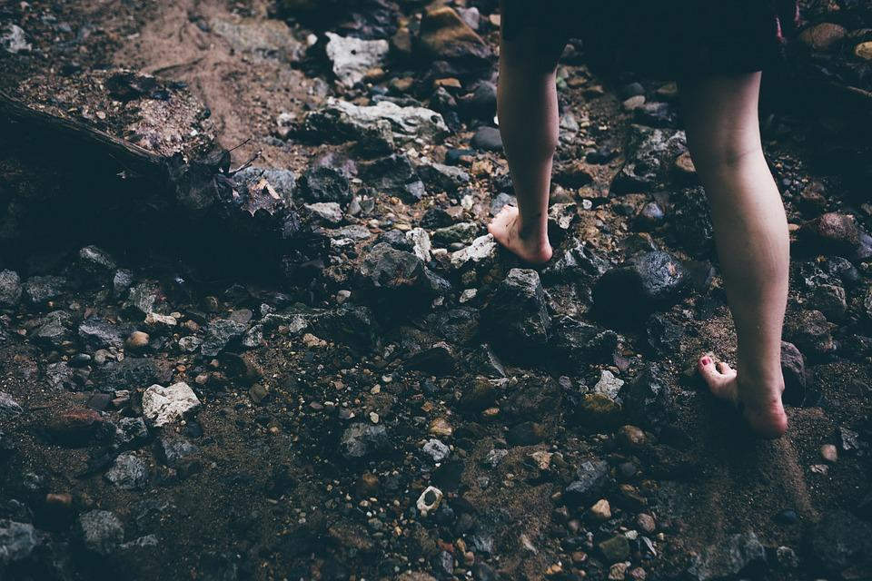Barefoot, Rocks, Careful, Feet, Legs, Young, Female